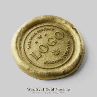 Perspective de maquette de logo réaliste de cachet de cire postal rond de luxe en or