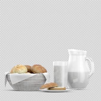 Petit déjeuner isométrique 3d isolé