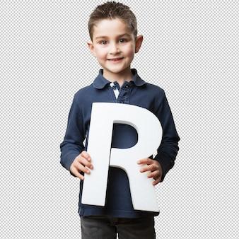 Petit enfant tenant la lettre r