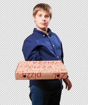 Petit garçon, tenue, pizza, boîtes