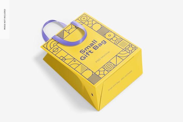Petit sac-cadeau avec maquette de poignée en ruban, vue de dessus