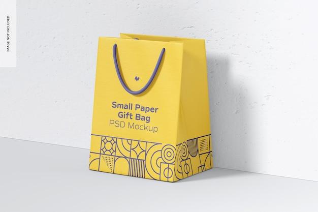Petit sac-cadeau en papier avec maquette de poignée en corde, perspective