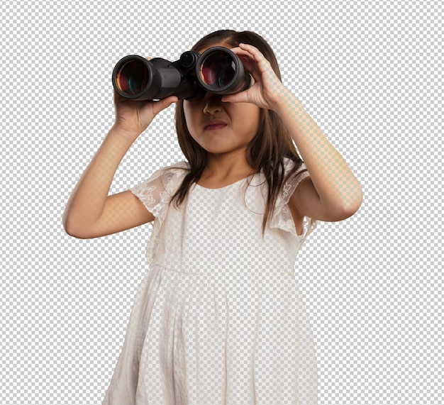 Petite fille chinoise regardant à travers les jumelles