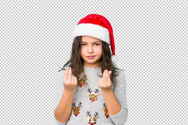 Petite fille fête le jour de noël montrant qu'elle n'a pas d'argent.