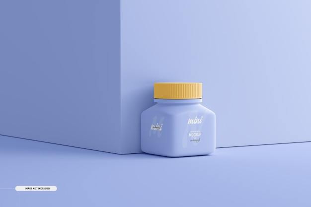 Petite maquette de bouteille de supplément de pilule carrée