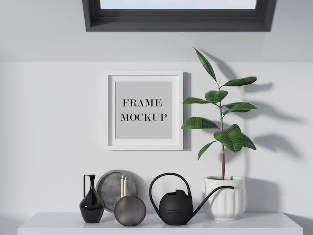 Petite maquette de cadre photo blanc sur mur blanc