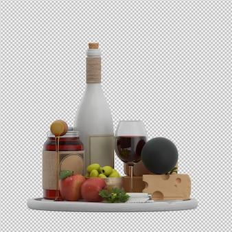 Petite table avec vin provolone olives pomme rendu 3d