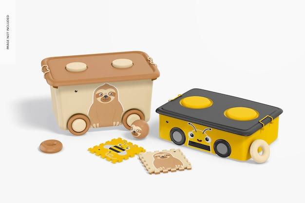 Petits bacs empilables en plastique avec maquette de roues