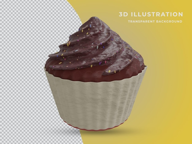 Photo de gâteau au chocolat en rendu 3d