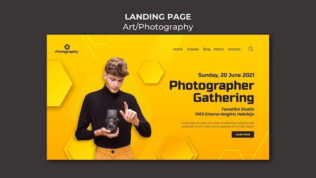 Photographe rassemblant la page de destination