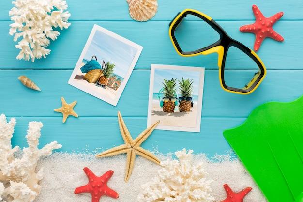 Photos et lunettes de natation vue de dessus