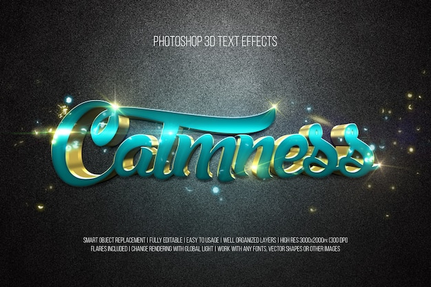 Photoshop 3d text effects calmness