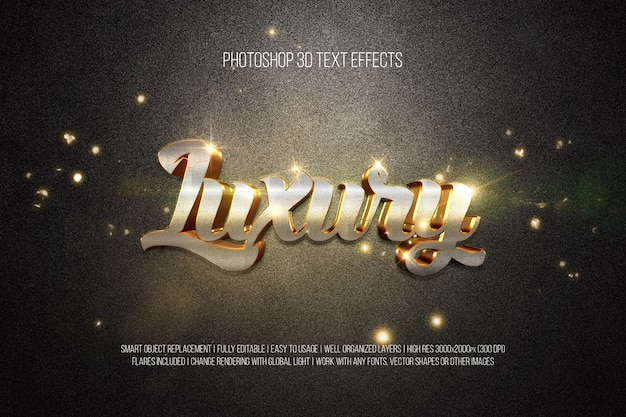 Photoshop 3d text effects luxury