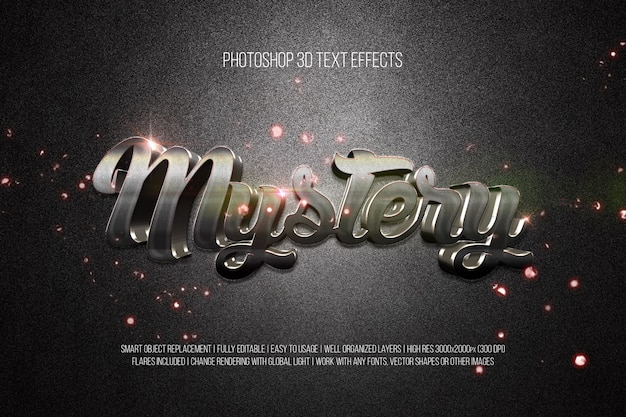 Photoshop 3d text effects mystery