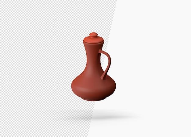 Pichet en argile fait main traditionnel de rendu 3d