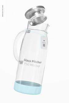 Pichet en verre avec maquette de couvercle, flottant