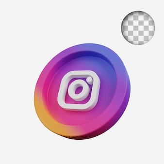 Pièce de concept de rendu 3d de l'icône des médias sociaux instagram