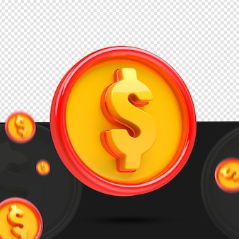 Pièce de monnaie 3d à gauche pour composition isolée