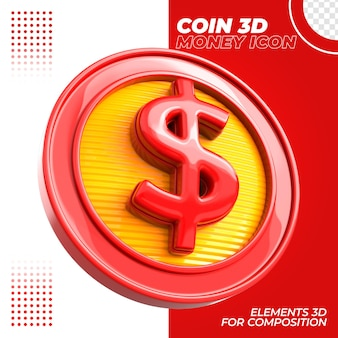 Pièce de monnaie 3d pour composition isolée