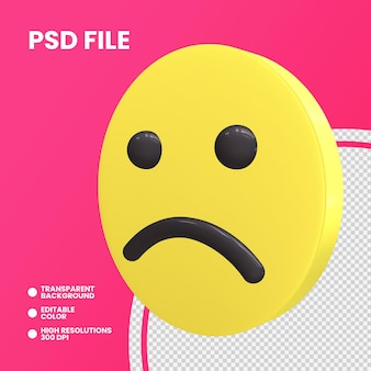 Pièce de monnaie emoji rendu 3d isolé visage légèrement fronçant les sourcils