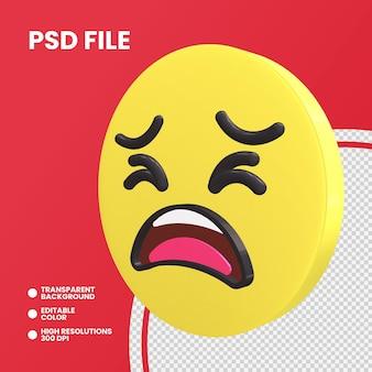 Pièce de monnaie emoji rendu 3d visage fatigué isolé