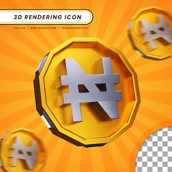 Pièce de monnaie nigérian naira symbole monétaire d'or dans le rendu 3d