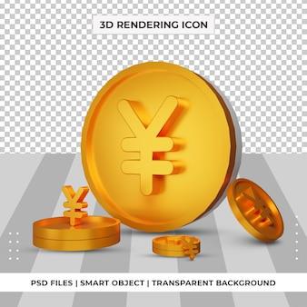 Pièce de monnaie yuan chinois symbole monétaire or rendu 3d