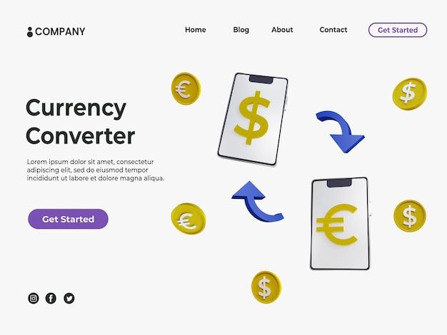 Pièce d'or 3d et smartphone avec position différente pour la page de destination du convertisseur de devises
