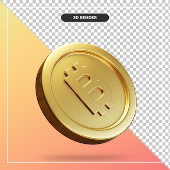 Pièce d'or bitcoin 3d visuel isolé