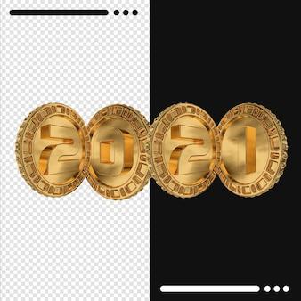 Pièce d'or et bonne année 2021 dans le rendu 3d