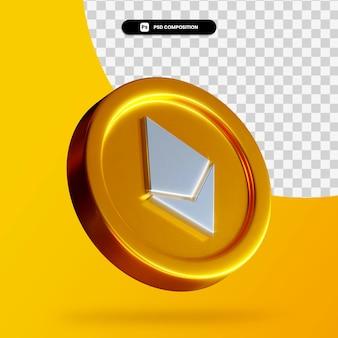 Pièce d'or ethereum rendu 3d isolé