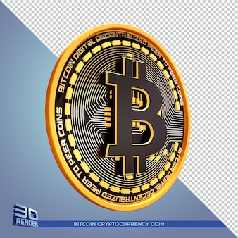 Pièce d'or noir bitcoin cryptocurrency rendu 3d isolé