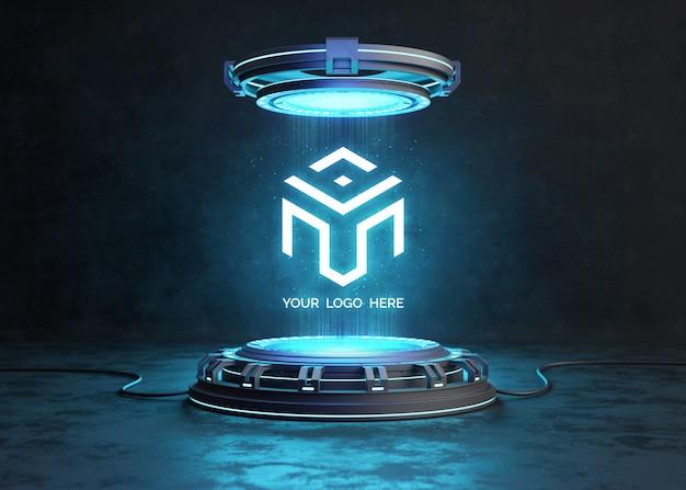 Piédestal futuriste pour maquette de logo
