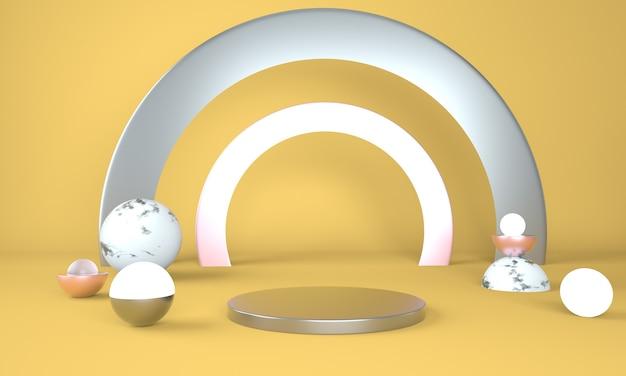Piédestal pour l'affichage, plate-forme pour la conception, produit vierge en rendu 3d