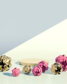 Piédestal pour une marque de cosmétiques avec des pivoines en rendu 3d