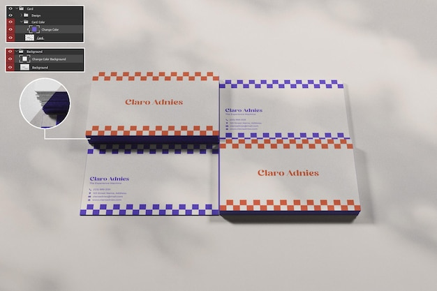 Pile carte de visite maquette carte premium psd