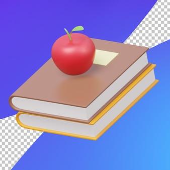 Pile de livres d'étude 3d et apple