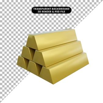 Pile d'objet simple illustration 3d d'or