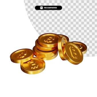 Pile de pièce d'or bitcoin en rendu 3d isolé