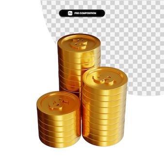 Pile de pièces d'un dollar d'or en rendu 3d isolé