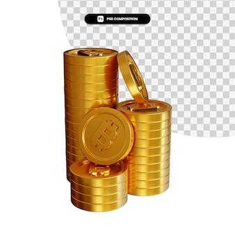 Pile de pièces d'or bitcoin en rendu 3d isolé