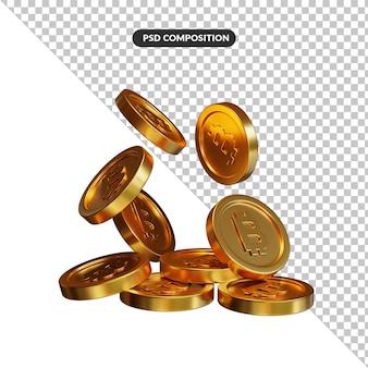 Pile de pièces d'or dans le rendu 3d