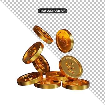 Pile de pièces d'or sur fond blanc, rendu 3d. concept bancaire et financier