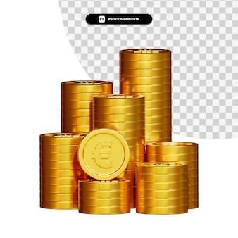 Pile de pièces d'or en rendu 3d isolé