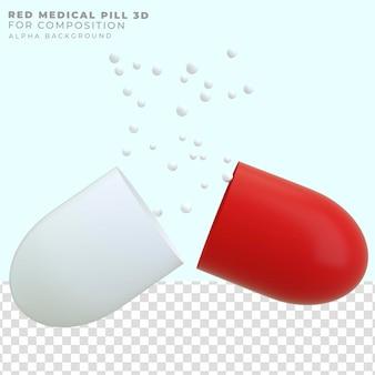 Pilule rouge ouverte de rendu 3d
