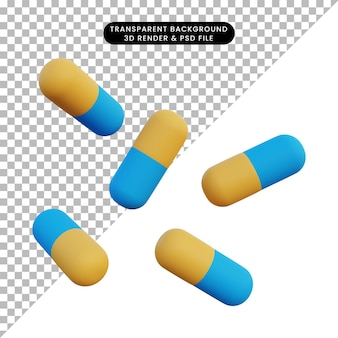 Pilules d'illustration 3d