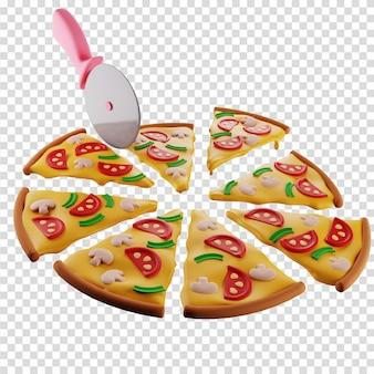 La pizza 3d aux champignons est divisée par un couteau à pizza en 8 tranches identiques illustration isolée