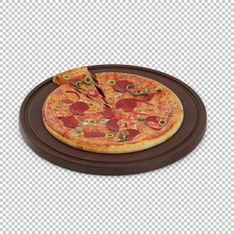 Pizza isométrique planche à découper en bois