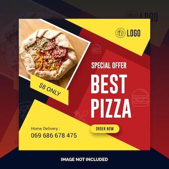 Pizza restaurant instagram post, bannière carrée