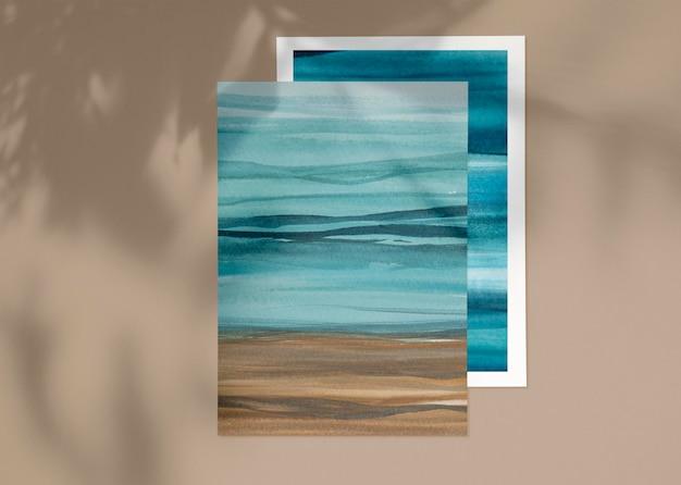 Plage de maquette d'affiche psd aquarelle ombre
